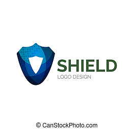 Secure shield logo design made of color pieces - Abstract...