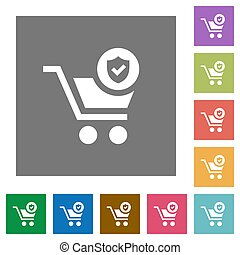 Secure shopping square flat icons