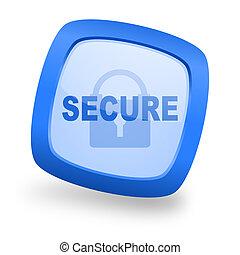 secure square glossy blue web design icon