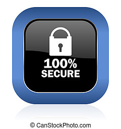 secure square glossy icon