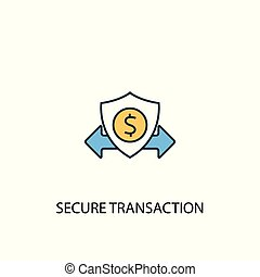 secure transaction concept 2 colored line icon. Simple yellow and blue element illustration. secure transaction concept outline symbol