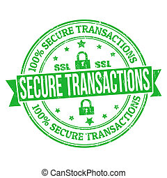 Secure transactions grunge rubber stamp on white, vector illustration
