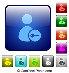 Secure user account color square buttons