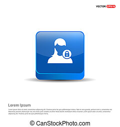 Secure User Icon - 3d Blue Button