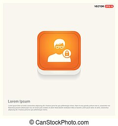 Secure User Icon Orange Abstract Web Button