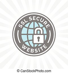 Secure website icon. Grey blue globe with SSL padlock sign.