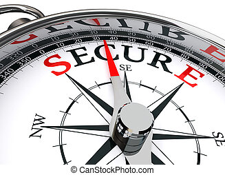 secure word on compass conceptual image