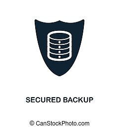 Secured Backup icon. Monochrome style design from big data icon collection. UI. Pixel perfect simple pictogram secured backup icon. Web design, apps, software, print usage.
