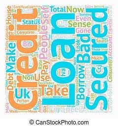 Secured Bad Credit Loans Make Sense text background wordcloud concept