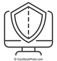 Secured computer icon, outline style