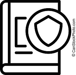 Secured control book icon. Outline secured control book vector icon for web design isolated on white background