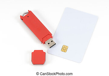 Secured data 1 - USB key and code card for data security on...