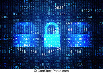 Secured data transfer - Computer security code abstract...
