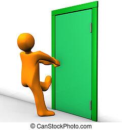 Orange cartoon character can not open the exit door.