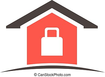 Secured house logo. Vector graphic design
