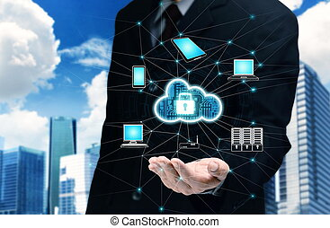 Secured Internet cloud server concept - Businessman hand ...