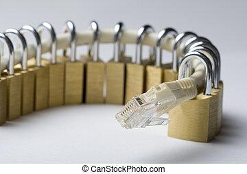 Secured network cable with gold padlocks
