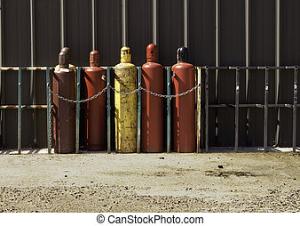 Industrial Gas Bottles -1 - Securely Stored & Chained...