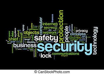 securety, säkerhet, ord, moln