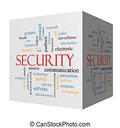 Security 3D cube Word Cloud Concept