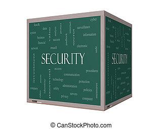 Security 3D Word Cloud Concept on a Blackboard