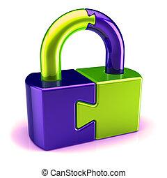 security abstract puzzle lock padlock closet green blue