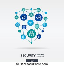 Security, access control integrated thin line icons. Digital neural network concept.