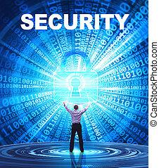 security:, affari, concept., giovane, cyber, rete, fornisce, internet, uomo sicurezza, tecnologia