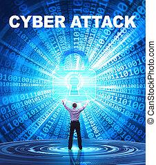 security:, affari, concept., giovane, cyber, rete, attacco, fornisce, internet, uomo, tecnologia