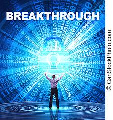 security:, affari, concept., giovane, cyber, sfondamento, rete, fornisce, internet, uomo, tecnologia