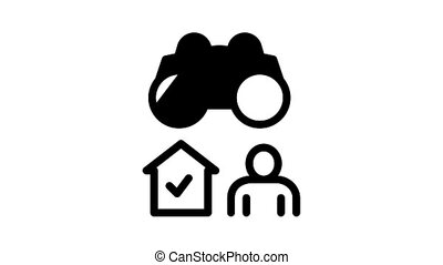 Security Agency Property Protect Icon Animation Security Agency Service Video Monitoring Cctv And Car With Alarm Signal, Safe And Badge