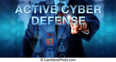 Security Agent Touching ACTIVE CYBER DEFENSE - Computer...
