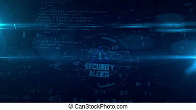Security alert hologram intro on dynamic futuristic background. Modern and futuristic concept of cyber attack, computer security, warning sign and digital protection. Seamless loopable 3d animation.