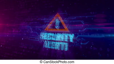 Security alert hologram intro on dynamic futuristic background. Modern and futuristic concept of cyber attack, computer security, warning sign and digital protection. 3d animation.