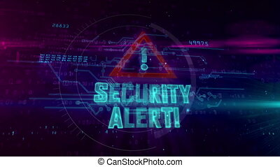 Security alert hologram intro on dynamic futuristic...