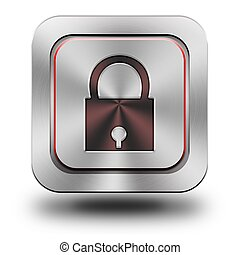 Security aluminum glossy icon