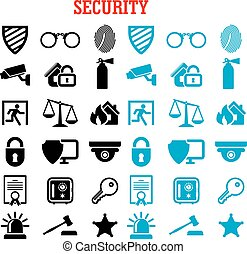 Security and protection flat icons set