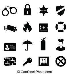 Security and safety icon set - Safety and security icon set