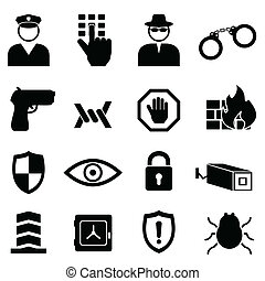 Security and safety icon set - Safety, security and crime ...