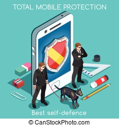 Security App 01 Concept Isometric - Mobile Protection. NEW...