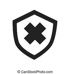 Security badge cross icon vector illustration