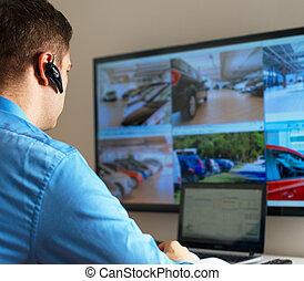 security bevogt, aflytning, video, ind, garanti, room.