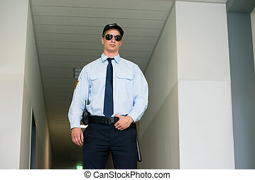 security bevogt, beliggende, hos, den, indgang