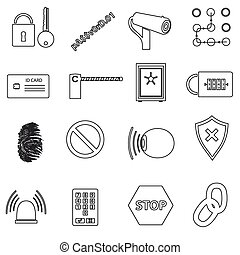 security black simple outline icons set eps10