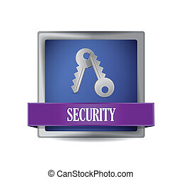 security blue square button illustration