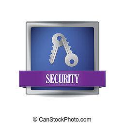 security blue square button illustration