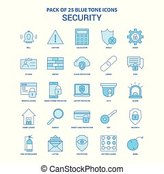 Security Blue Tone Icon Pack - 25 Icon Sets