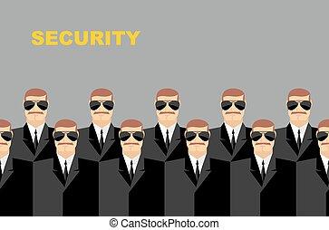 Security Bodyguard. Pattern of men in glasses. Vector...
