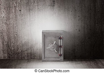 security box - 3d rendering of a security steel safe on a...