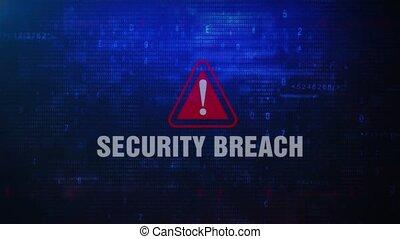 Security Breach Alert Warning Error Message Blinking on Screen .
